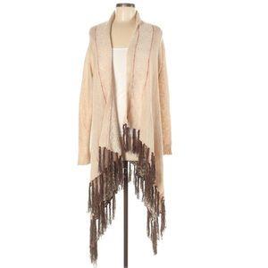⏰Ariat M tan & brown BOHO textured fringe cardigan